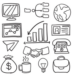 Collection of object business various doodles vector