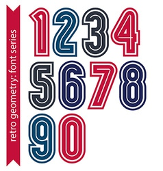 Colorful regular stripy numeration black and red vector