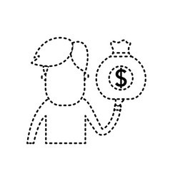 Dotted shape man with bag cash money in the hand vector