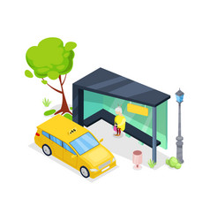 downtown taxi stop isometric 3d icon vector image vector image