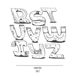 English hand drawn funky font from r to z vector image vector image