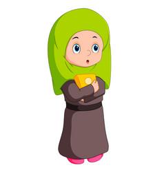 female muslim standing vector image vector image