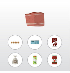 Flat icon eating set of beef eggshell box sack vector