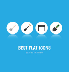 Flat icon farm set of barbecue spade trowel and vector