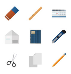 Flat icon stationery set of rubber date block vector