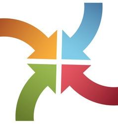 Four curve color arrows converge point center vector