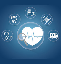 Heartbeat service medical icons vector