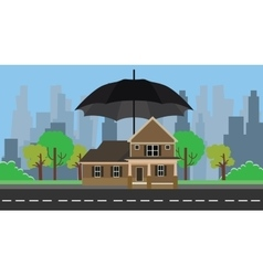 Home insurance with umbrella protection vector