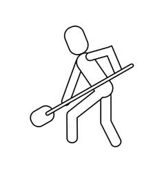 Man shovel digging work construction outline vector