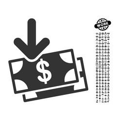 Money income icon with people bonus vector