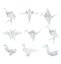 Origami birds set vector