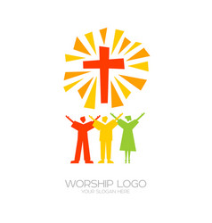 People worship jesus christ vector