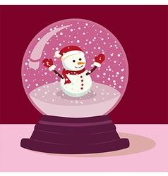 Purple Snowman Snow Ball vector image
