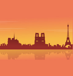silhouette of building france city scenery vector image vector image