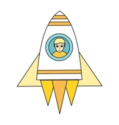 Spaceship with boy in porthole vector