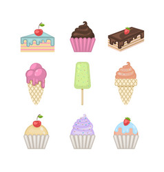 sweets set ice creamcupcakecakepie vector image