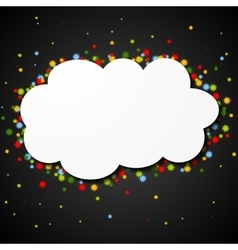 White blank paper cloud with colorful stars vector