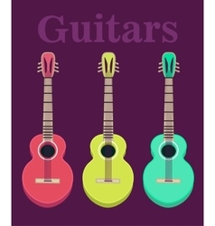 Set of a classical acoustic guitars isolated vector