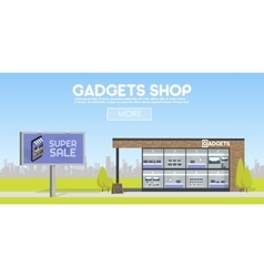 Facade gadgets shop in the urban space the sale vector
