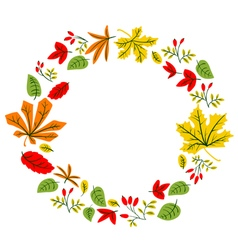 Fall season wreath design with doodle colorful lea vector