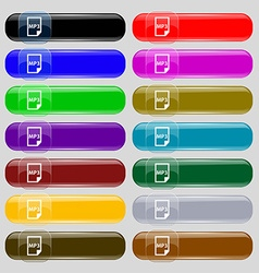 Mp3 icon sign set from fourteen multi-colored vector
