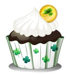 A chocolate cupcake with a token vector image