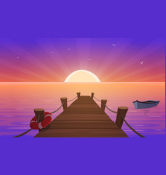 cartoon sunset at pier vector image