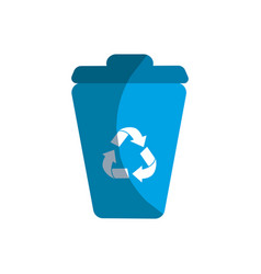 Blue can trash with reuse reduce and recycle vector