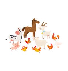farm animals grazing in the pasture grazing vector image
