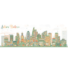 Johor bahru malaysia skyline with color buildings vector