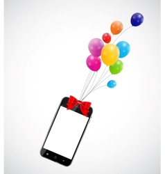 Color glossy balloons with mobile phone vector