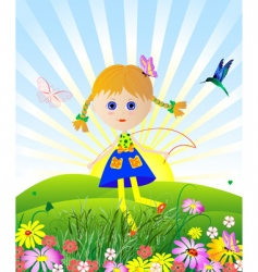 girl jumping on meadow vector image