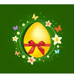 Sweet easter egg with gift bow greeting card vector