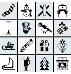 Winter icons set black vector