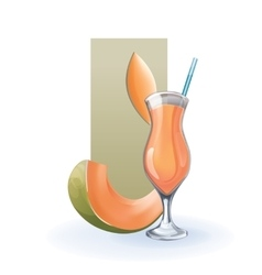 Melon in goblet of juice cocktail smoothie vector