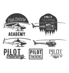 Set of helicopter school emblem label vector