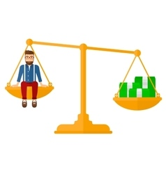 Man sitting on scale with coins vector