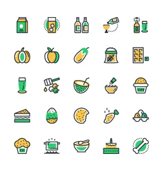 Food vegetables icons 5 vector