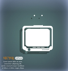 Tv icon on the blue-green abstract background with vector