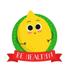 Lemon cute fruit character badge vector