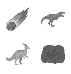 a falling meteoriteparasaurolophus tyrannosaurus vector image