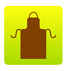 Apron simple sign brown icon at green vector