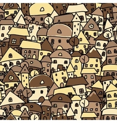 Autumn city seamless pattern for your design vector image vector image