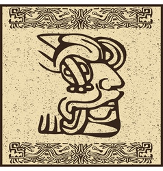 Aztec motif head background vector