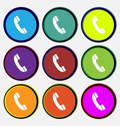 Call icon sign Nine multi colored round buttons vector image