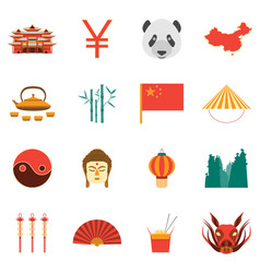Cartoon chinese culture and tourism colorful icons vector