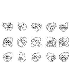 Cartoon of human various face expressions vector image