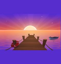 Cartoon sunset at pier vector
