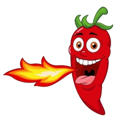 Chili Cartoon Character Breathing Fire vector image vector image