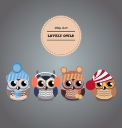 Clipart Set cartoon owls Lovely pets vector image